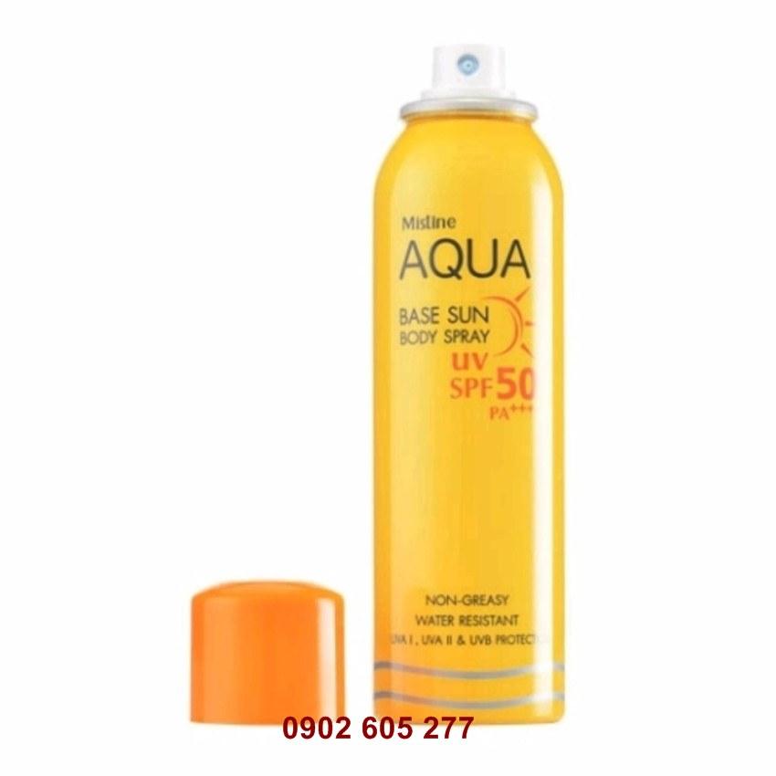 loại kem chống lão hóa khô sần sạn nám Mistine Aqua Base Sun Body Spray SPF50 PA+++