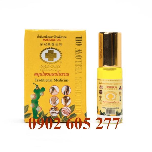 Dầu xoa bóp thảo dược Thập tự vàng Thái Lan – Chai Lăn Bỏ Túi